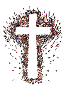 Cross made of people