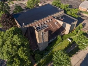 Aerial of Trinity Lutheran Church Stevens Point Wisconsin